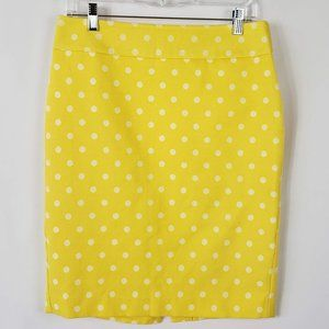 Ann Taylor Yellow with White Polka Dot Skirt